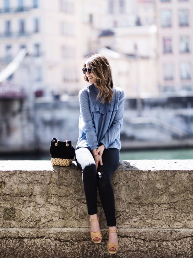 blouse volants slim sandales sabots sac panier zara