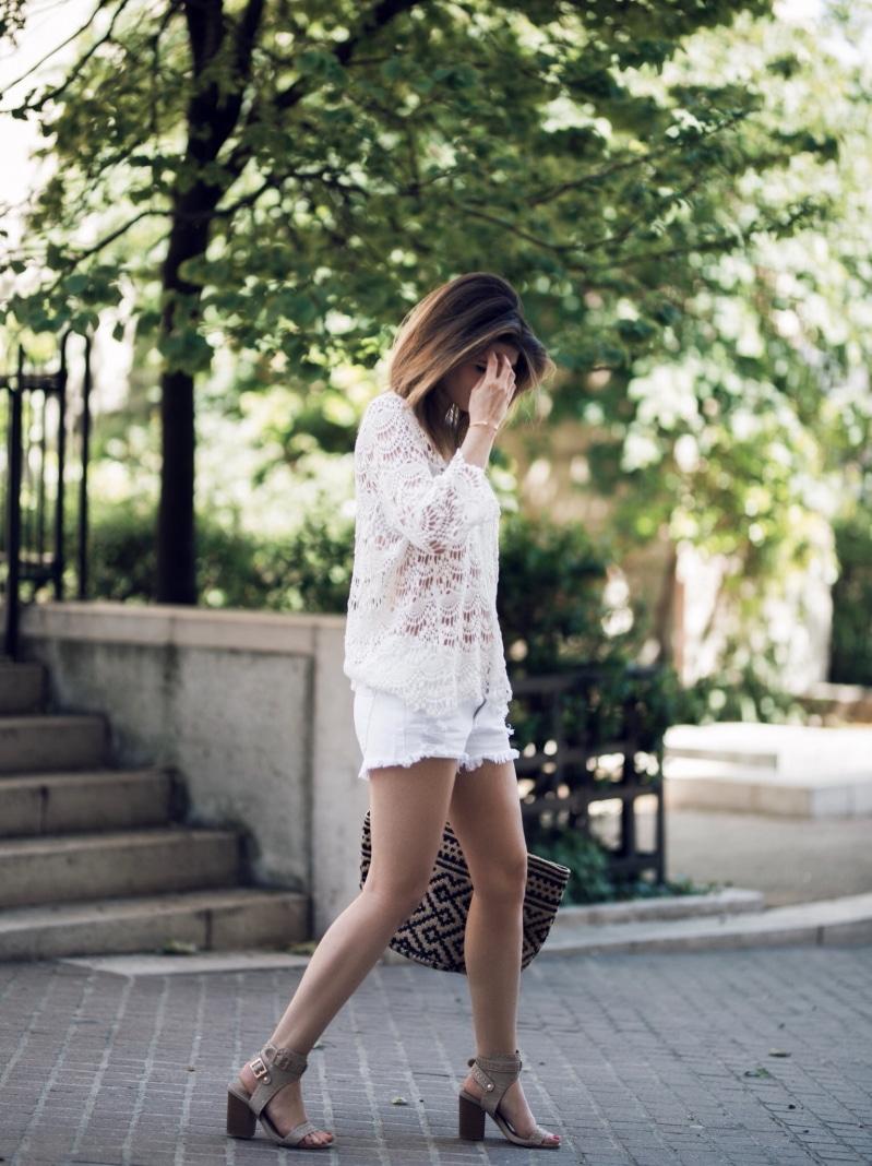 blouse crochet lace up short panier sandales cloutées