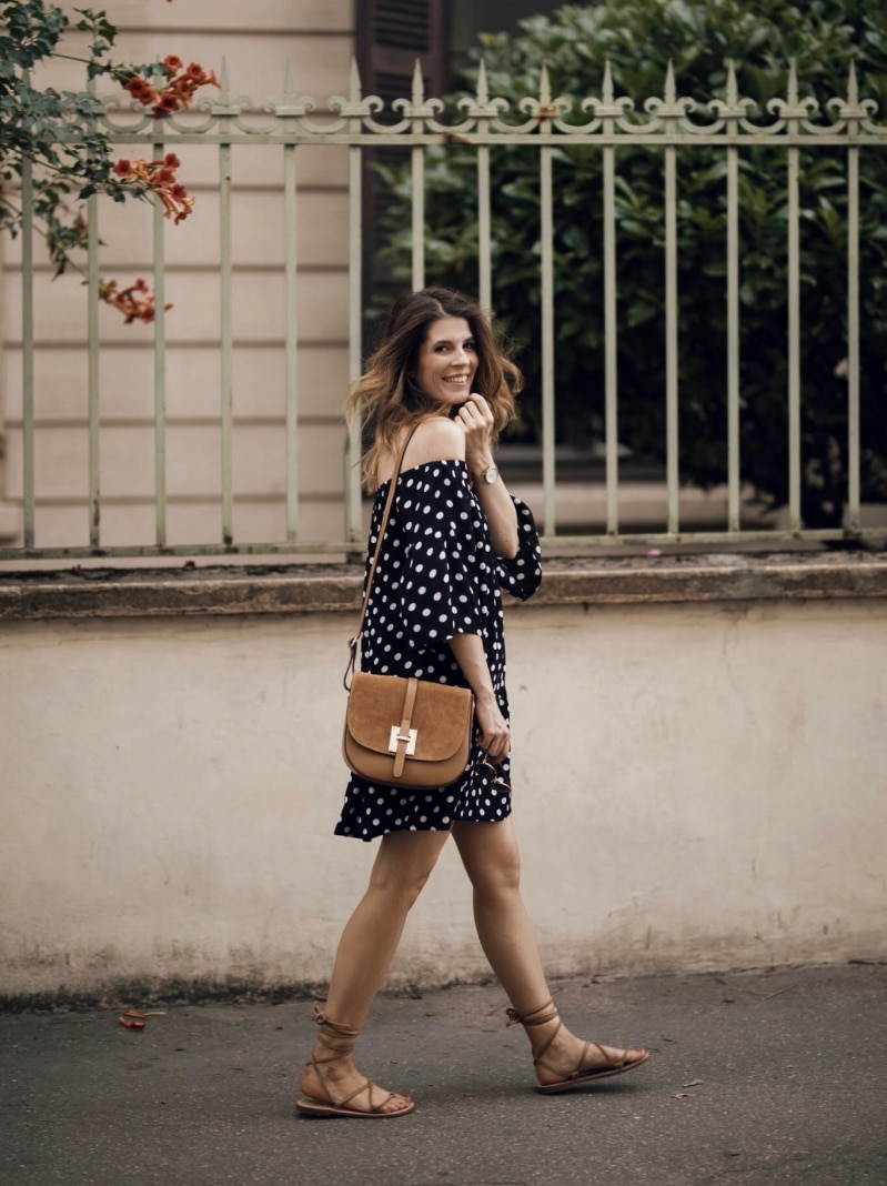 robe à pois sac bi-matière