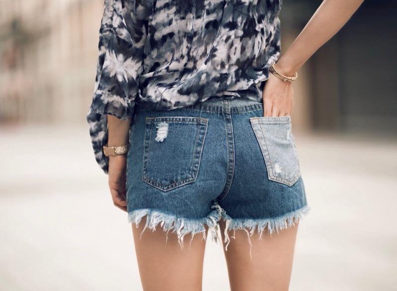 short en jean patchwork baskets franges bandeau