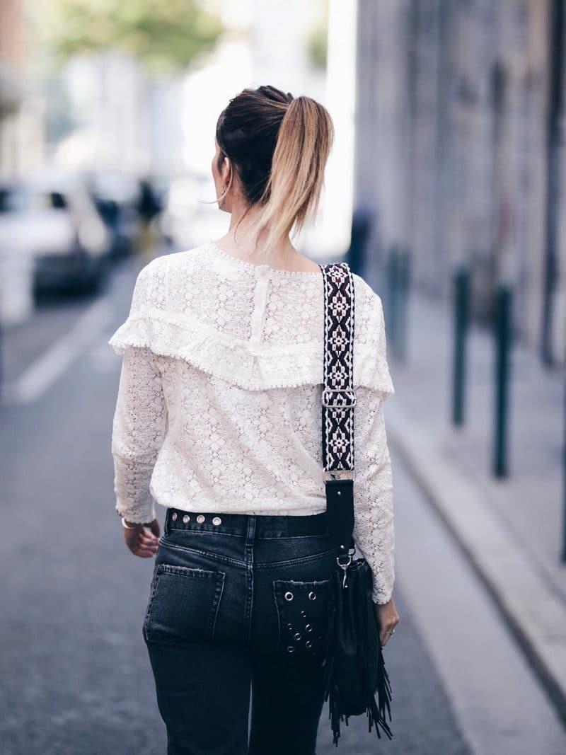 Look jean oeillets Zara blouse Ninon Sézane sac M Maje dos