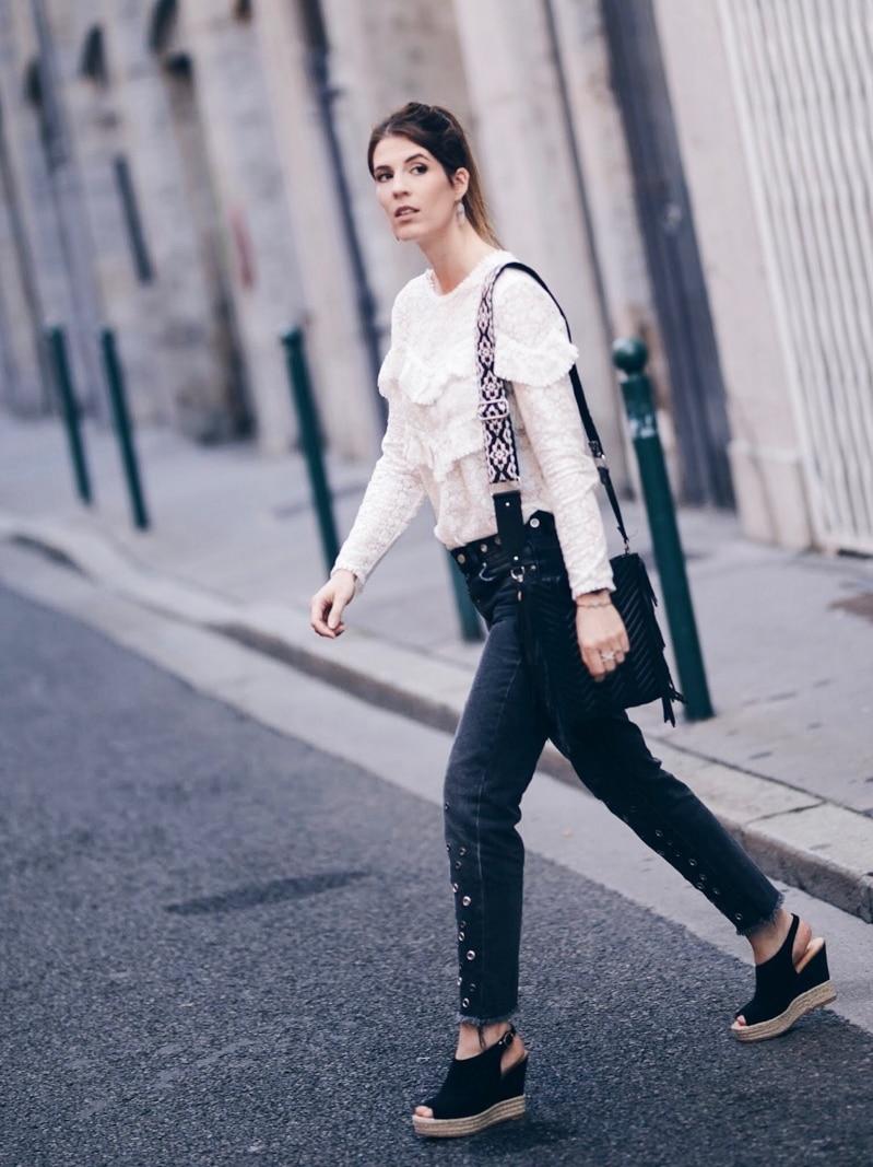Look jean oeillets Zara blouse Ninon Sézane sac M Maje marche