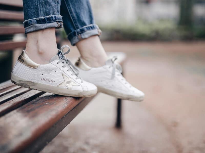 Look veste militaire brodée IKKS jean skinny 501 levis et baskets golden goose sneakers
