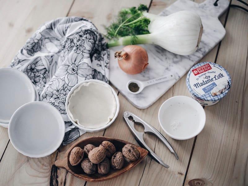 recette végétarienne tarte fenouil, fromage et noix ingrédients