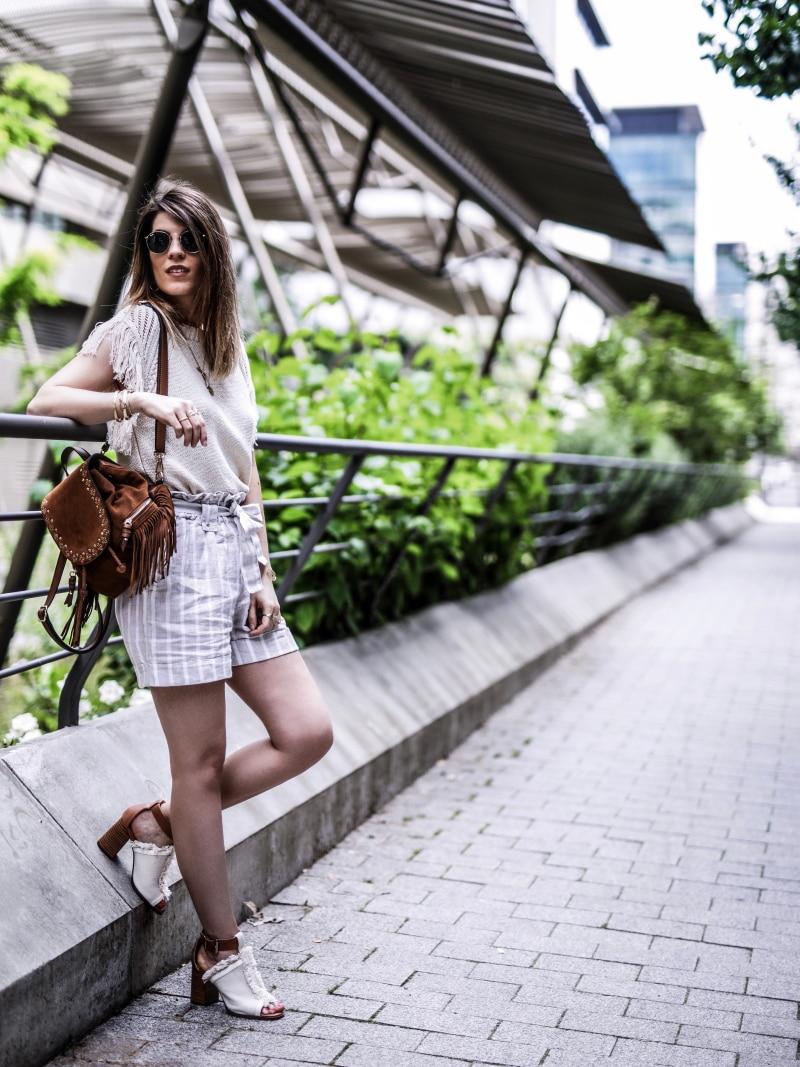 sac à dos à franges, maille, short en lin et sandales bohèmes blog by opaline adossée