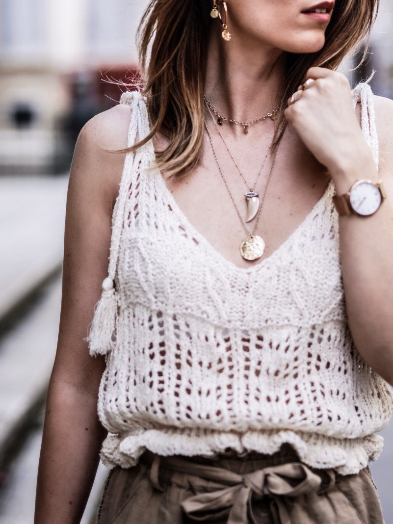 Look Top crochet short taille haute sandales en raphia blog By Opaline bijoux
