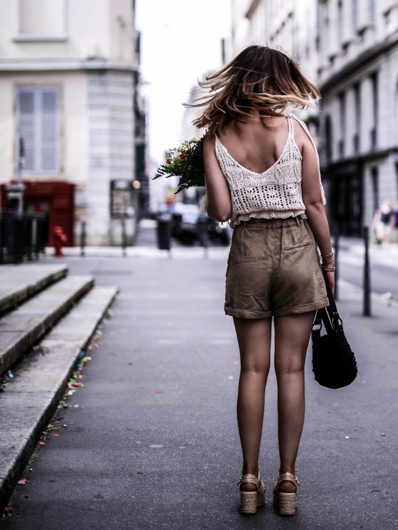 Look Top crochet short taille haute sandales en raphia blog By Opaline dos