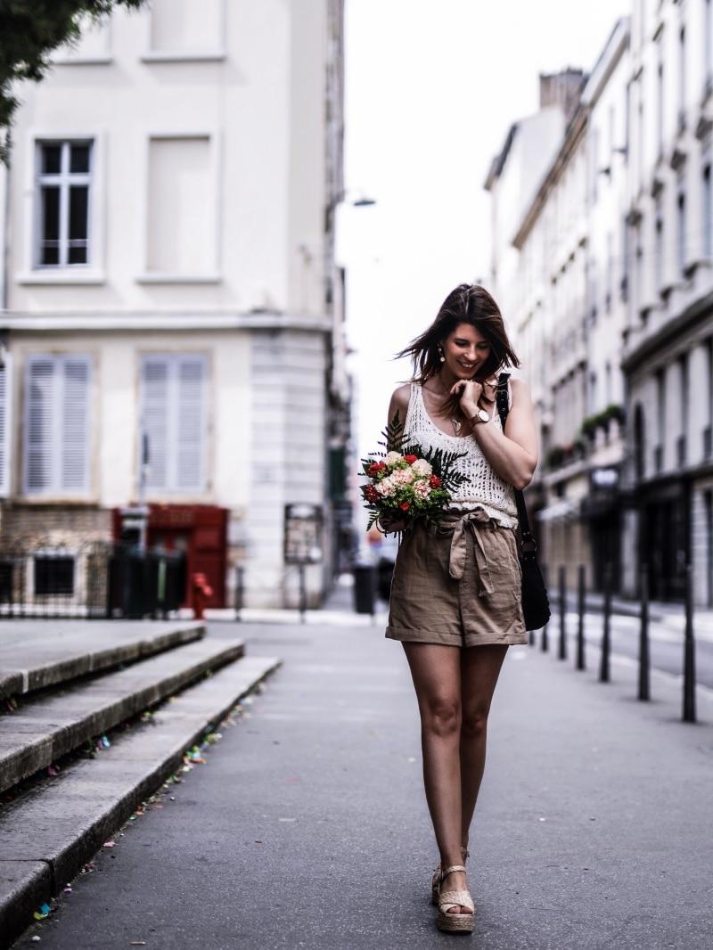 Look Top crochet short taille haute sandales en raphia blog By Opaline entier