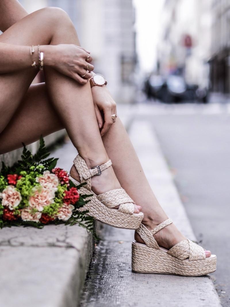 Look Top crochet short taille haute sandales en raphia blog By Opaline chaussures