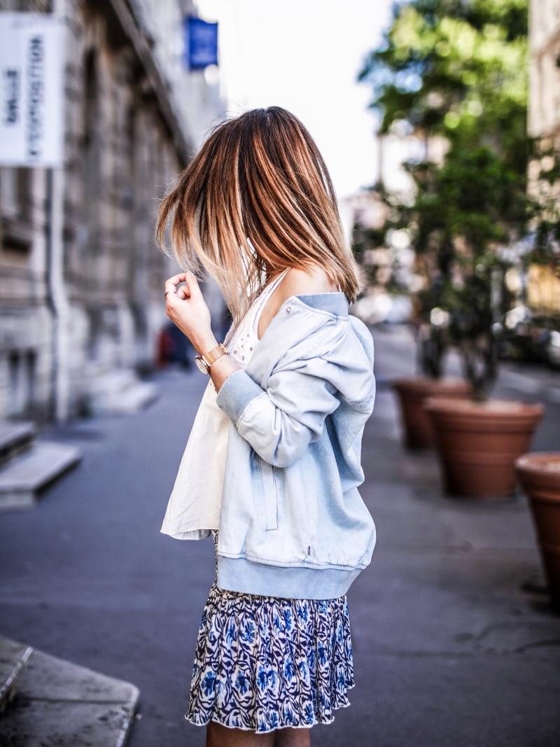 look été 2018 By opaline jupe fleurie top ajouré sandales plateforme