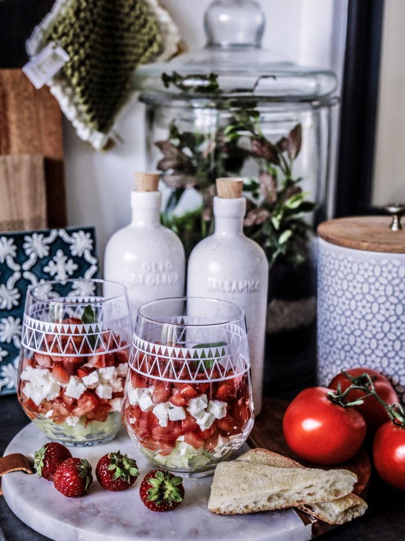Recette verrines fraîches concombre tomate feta fraise blog By opaline