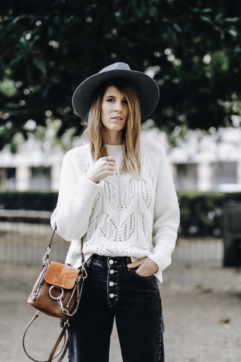 Idée look automne blazer à carreaux mom jean sac à dos Chloé mini Faye