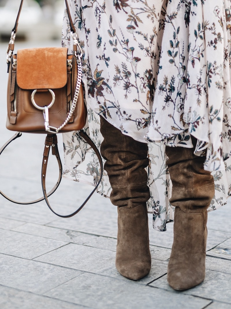 Idée look automne cuissardes en daim robe longue Pablo, chapeau Lack of color et sac à dos Chloé mini Faye