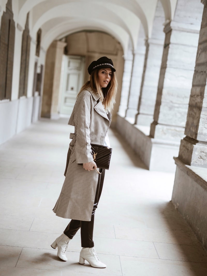 Look femme 2019 trench à carreaux sac saint laurent blog mode France Lyon By Opaline