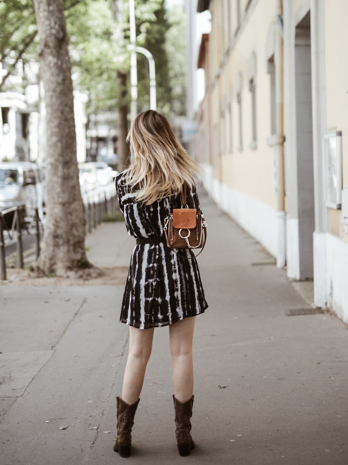 Look femme printemps 2019 santiags bohème By Opaline blog mode Lyon France dos ombré hair