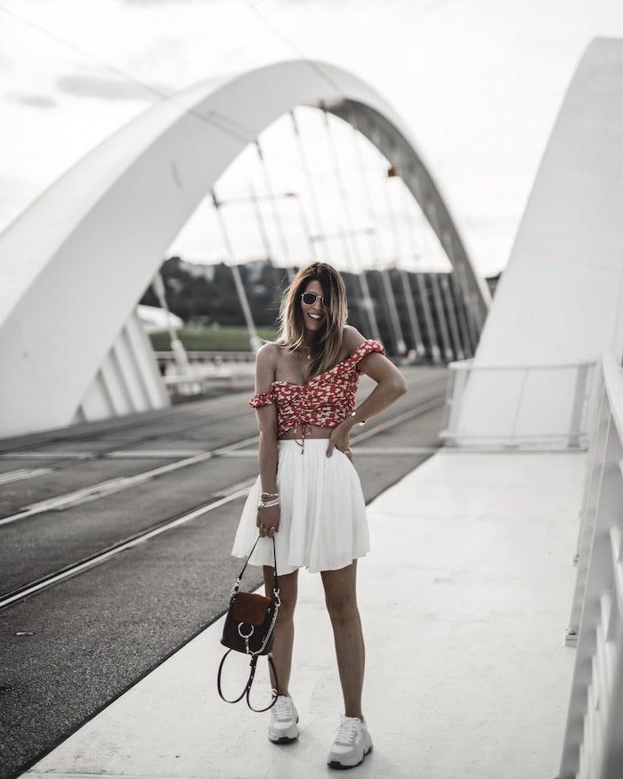 Look été summer blog mode Lyon By Opaline France crop top fleuri jupe American Vintage