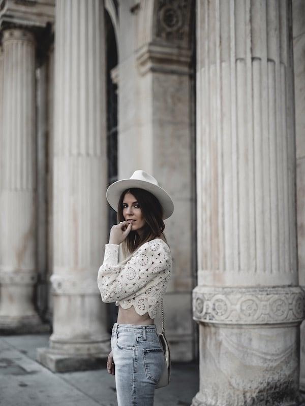 Inspiration look femme été 2019 top dentelle chapeau Lack of Color blog mode Lyon France By Opaline