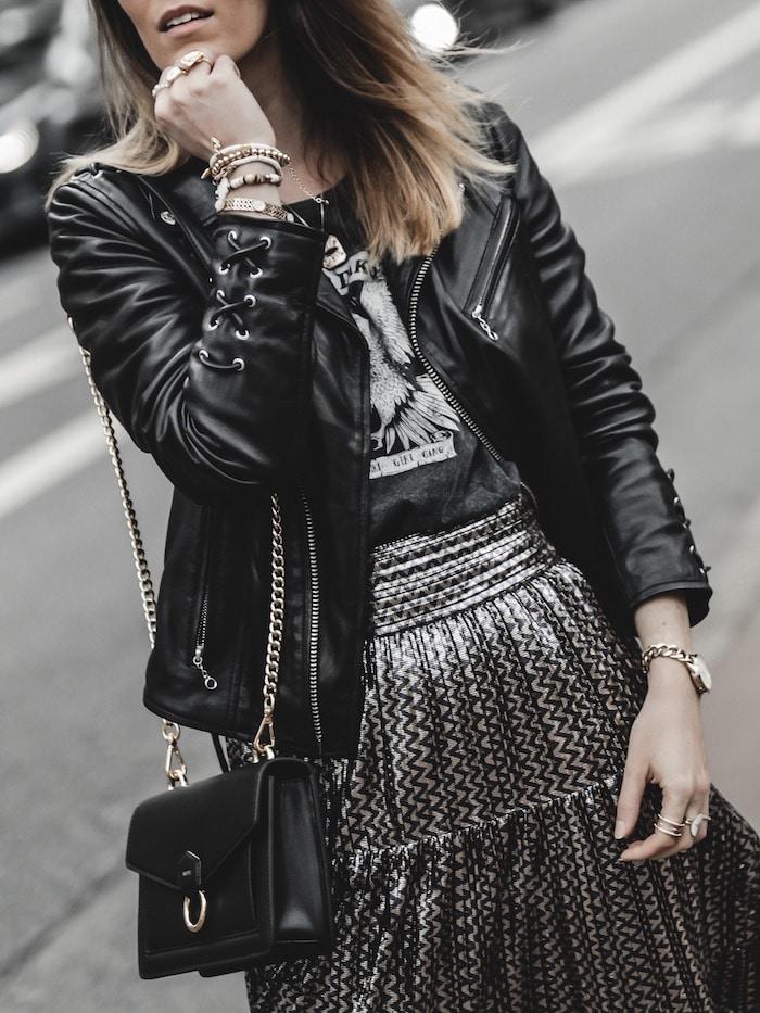 Look inspiration femme perfecto Schott tee-shirt rock aigle blog mode Lyon France By Opaline